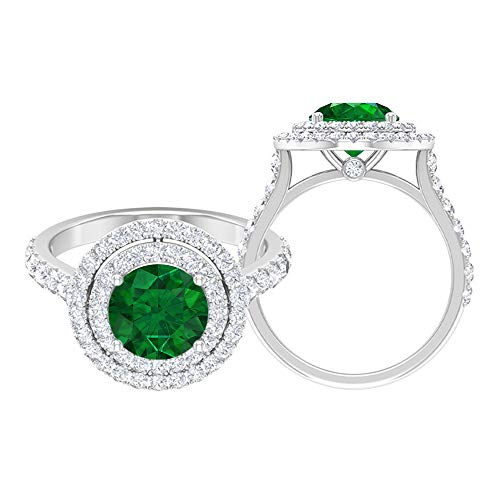 Anillo solitario de doble halo, piedras preciosas redondas de 3.14 quilates, D-VSSI Moissanite 8 mm Esmeralda corona anillo de compromiso, joyería de oro para ella, 10K Oro blanco, Size:EU 45