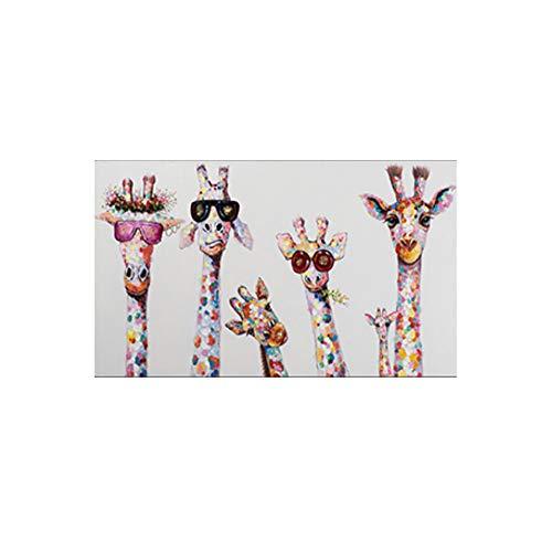 JinYiGlobal Leinwand Wandkunst Tiere Bunte Giraffe Eine Familie mit Brille Malerei Leinwand Bild Leinwanddrucke für Raum 70x140cm (27.6