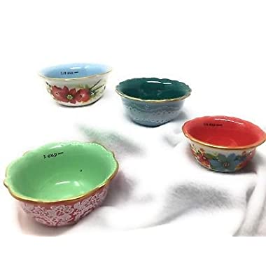 The Pioneer Woman Measuring Bowl Set 4pc Frost Floral Cups