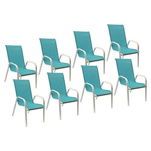 Happy Garden Lot de 8 chaises Marbella en textilène Bleu - Aluminium Blanc