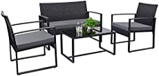 Tuoze 4 Pieces Patio Furniture Set Outdoor Patio Conversation Sets Modern Porch Furniture Lawn Chairs with Glass Coffee Table for Home Garden Backyard Balcony (Grey)
