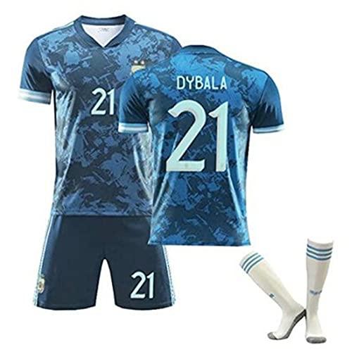 アルゼンチン男子サッカージャージーサッカーシャツスーツ、選手用サッカーシャツ、サッカーファントレーニングランニングフィットネスアスレチックウェア、トレーニングスポーツジョギングランニング、ボーイサッカーギフト #21-1-22