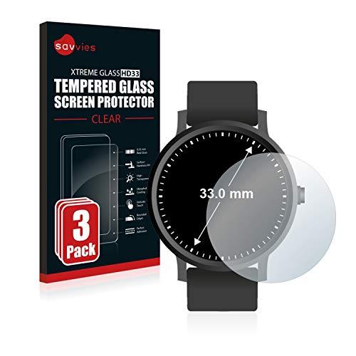 Savvies Panzerglas kompatibel mit Armbanduhren (Kreisrund, Durchmesser: 33 mm) (3 Stück) - Echt-Glas, 9H Härte, Anti-Fingerprint