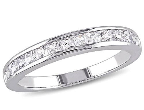 Lab Created White Sapphire 3/4 Carat (ctw) Channel Set Wedding Anniversary Band Ring in Sterling Silver
