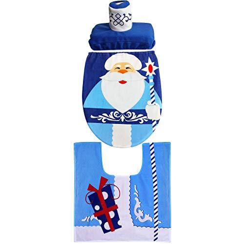 Hony badmat wc mat 3 stks badmat wc stoelhoezen mooie diverse kerst patroon prints met anti-slip bodem zacht en comfortabel tapijt water absorberen