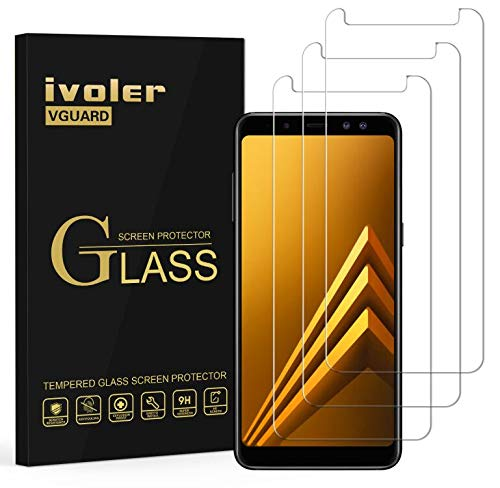 ivoler [Pack de 3] Verre Trempé Compatible avec Samsung Galaxy A8 2018, Film Protection en Verre trempé écran Protecteur vitre