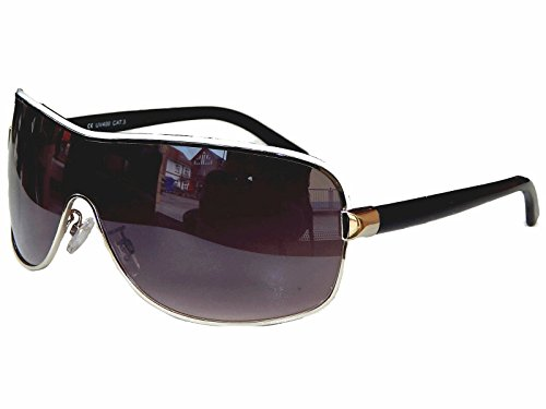 Aviator Brille Sonnenbrille Pornobrille Fliegerbrille Moderner Look Auswahl M 7 (Schwarz Silber)