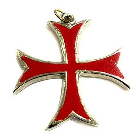 Medieval Epic Disfraz de Cruz Roja de los Caballeros Templarios Cruzados de Acero Inoxidable