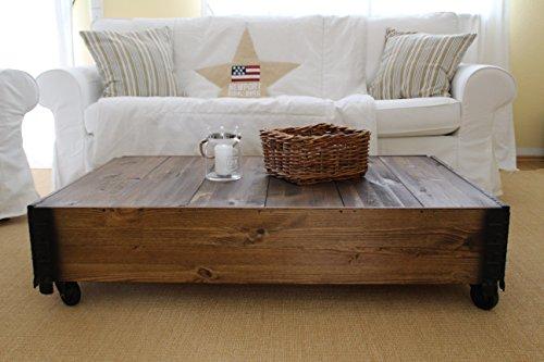 Uncle Joe´s Couchtisch dunkel im Vintage Shabby chic Style aus Massiv-Holz in braun mit Rollen Holzkiste Beistelltisch Landhaus Wohnzimmertisch Holztisch nussbaum