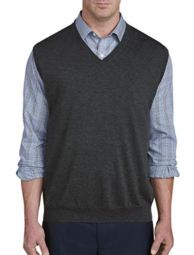 Rochester by DXL Big and Tall Merino Wool Sweater Vest, Carbon Heather, 4XL