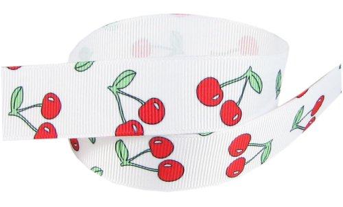 "HipGirl Fruit Printed Grosgrain Ribbon-Apples, Strawberries, Cherries etc (5yd 7/8"" Cherry Ribbon, White)"