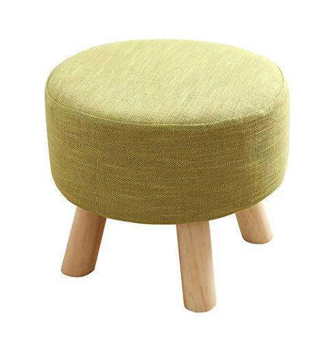 Ronde Big Wood Footstool Salon Rembourré Ottomane Change Banc de chaussure pour Foyer 4 jambes et couverture en lin (4 couleurs) (Couleur : Green)