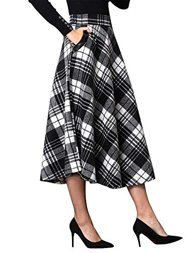 IDEALSANXUN Womens High Elastic Waist Maxi Skirt A-line Plaid Winter Warm Flare Long Skirt (X-Large, Mid-Calf Black&White)