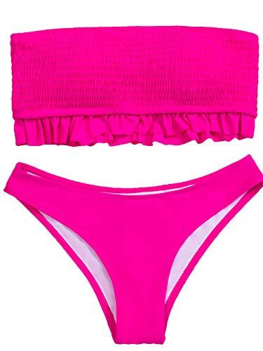 Traje de banho feminino, biquíni com babados, patchwork, babados, tomara que caia, sem mangas, cintura baixa, sem alça de ombro, Vermelho rosa, XG