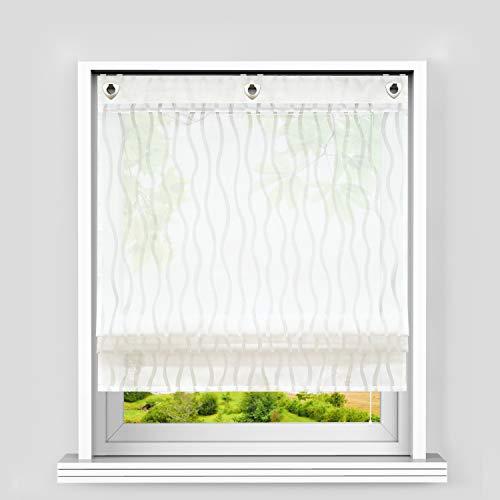 Heichkell – Estor transparente con ojales, con ganchos, cortina fruncidora sin agujeros, cortina en diseño de ondas clásicas, 120 x 140 cm, color blanco