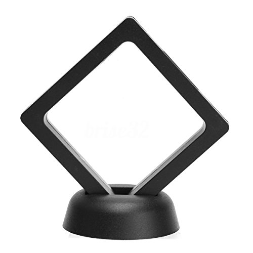 SODIAL Caja de moneda sostendor de marco flotante albumes 3D cuadrado Caja de muestra de exhibicion de joya 9 x 9cm (con base)