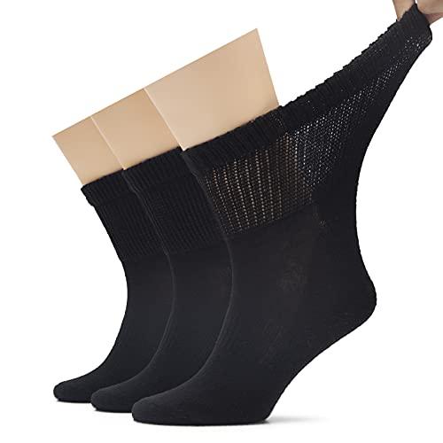 Hugh Ugoli Men's Diabetic Ankle Breathable Cotton Socks with Seamless Toe and Semi Cushion, 3 Pairs, Black, Shoe Size: 8-11