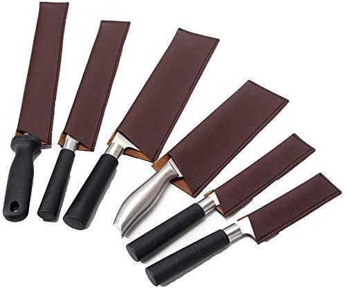 QEES Funda de cuero para cuchillos de cocina, 6 piezas, fundas para cuchillos de cocina, protectores de cuchillos de chef, protectores de cuchillos impermeables (marrón)