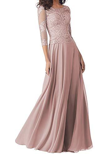 Abendkleider Lang Brautmutterkleider Langarm Spitze Hochzeitskleid Ballkleider A-Linie Chiffon Festkleider Altrosa 50