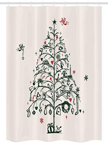 ABRAN Weihnachtsstand Duschvorhang, Feen mit Zauberstäben & handgezeichnetem Baumstil mit Kranz & Strümpfen Bild,