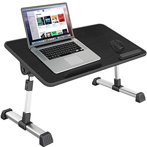 Huryfox Klappbarer Laptop-Schreibtisch für Bett einstellbare Laptop-Ständer Computer-Bett-Tablett Tragbarer Stehtisch für Home Office/Gaming/Essen/Schreiben/Arbeiten Schwarz , 30 CM X 52 CM