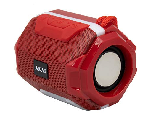 Akai Blitz BZ05 Portable Wireless Bluetooth Speaker with 5W Premium Sound,Robust Bass,Splash Resistance,Inbuilt FM,Led Equalizer,Upto 8 hrs Playtime(Red)