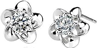 اقراط اذن من الفضة الاسترليني عيار 925 بشكل زهرة من سواروفسكي اليمنت