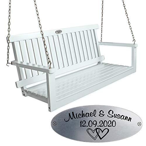 Geschenke 24 Hängebank zur Hochzeit mit Personalisierung (Herzen): Hollywoodschaukel aus Holz mit Kette zum Aufhängen, Hochzeitsgeschenk mit Namen und Datum