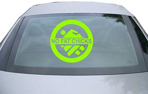 INDIGOS UG - Aufkleber Heckscheibe & Motorklappe DE6016 - neongrün - 600x600 mm - no Fat Chicks - Auto Scheiben Fenster Heckklappe Tuning Racing JDM - Die Cut