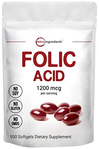 Micro Ingredients Folic Acid 1200mcg, 500 Softgels, Premium Folic Acid Vitamin B9, Supports Heart Health and Prenatal Development, Non-GMO and Gluten Free