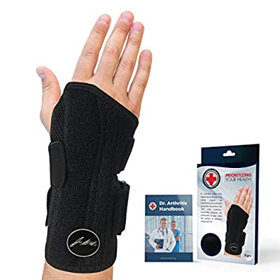 Doctor Developed Fitted Wrist Support/Wrist Strap/Wrist Brace/Hand Support (Single) & Doctor Written Handbook - Suitable for Both Right and Left Hands (Black, Right)