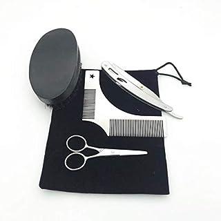 Beard Shaping Tool Set 5 in 1 Multi-liner Beard Shaper Template Comb Scissors Mustache Brush Manual Shaver Kit