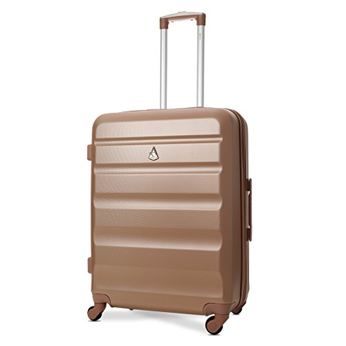 Aerolite Medium 25' Super Lightweight ABS Hard Shell Travel Hold Check in Luggage Suitcase with 4 Wheels (Medium, Rose Gold)
