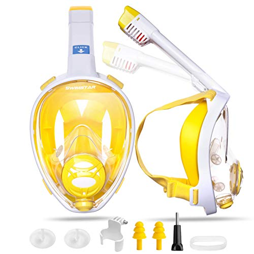 SwimStar 2020 Foldable Full Face Snorkel Mask for Women and Men, Anti Fog Dry Top Snorkeing Set, 180° Panoramic View Diving Mask with Camera Mount and Comfortable Adult Snorkeling Gear Yellow