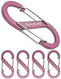 ALPLAKE ® - 4 mosquetones de material, doble mosquetón, micromosquetón, forma de S, 88 x 40 mm, color rosa.