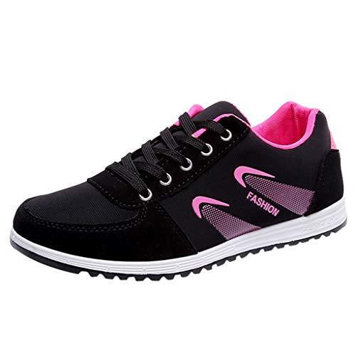 Sportschuhe Damen Low-Top Retro Sneaker Mesh Flache Oxford Laufschuhe Bequem Atmungsaktiv Anti-Rutsch Fitnessschuhe Strilvoll Leicht Outdoor Turnschuhe Sommer Casual Schuhe (Rosa, 40)