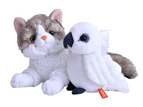 Wild Republic Unlikely Friendships Plush Cockatoo and a Cat, Based on a True Story, Gift for Kids, Plush Toys