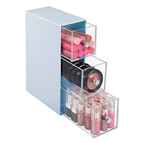 mDesign Lade-kastje - cosmetica-organizer/organisatiesysteem badkamer - praktisch/met 3 plastic lades - voor make-up en cosmetica - carolina blauw/doorzichtig