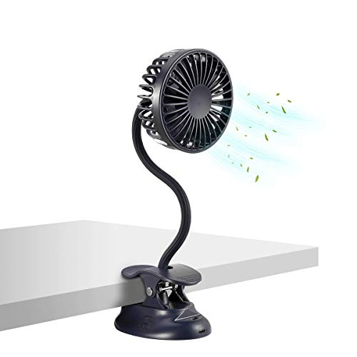 Clip on Stroller Fan Battery Operated Desk Fan with Emergency Power Bank, USB Clip Fan Rechargeable Personal Fan Flexible Neck 3 Speeds Great for Stroller Beach Car Camping Dorm Bed Office-Navy Blue