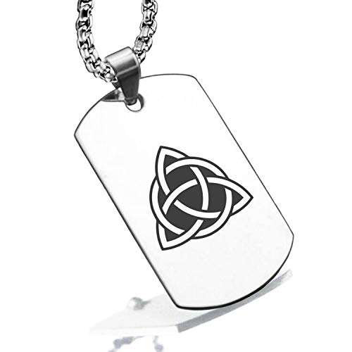 Comfort Zone Studios Stainless Steel Celtic Triquetra Trinity Knot Dog Tag Pendant Necklace, Silver