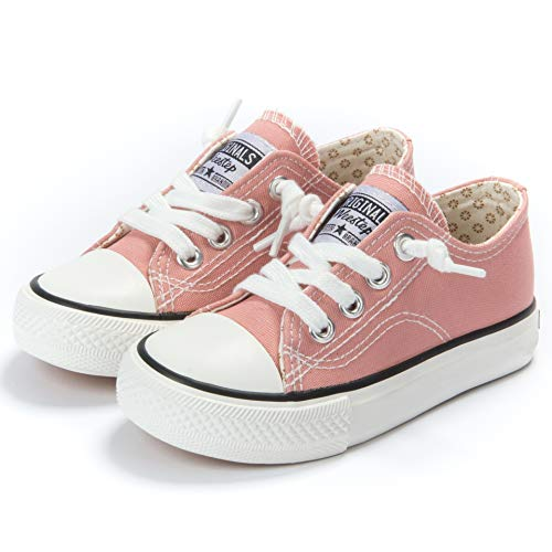 Weestep Toddler Little Kid Boys and Girls Slip On Canvas Sneakers(1 Little Kid, Light Coral)