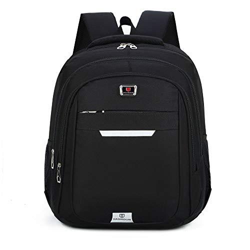 Mochila para estudiantes universitarios de color sólido de nailon impermeable mochila de moda de ocio deportivo mochila, Black (Negro) - yx-590