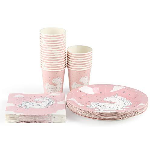 UMI. by Amazon - Vajilla desechable rosa incluye: 24 platos de cena, vasos de papel, servilletas; total 72 piezas, puede servir a 24 invitados. La mejor opción para fiestas de niños, niñas… (unicorn)