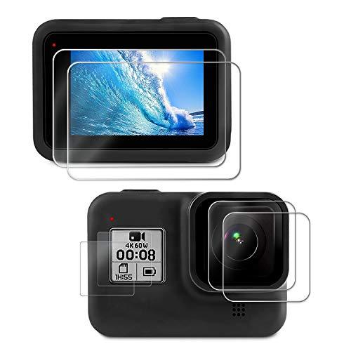 Deyard Displayschutzfolie für GoPro Hero 8 Black , ultra-klares gehärtetes Glas Displayschutzfolie Linsenschutz Zubehör für GoPro Hero 8