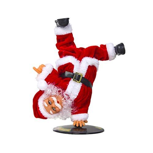 Amosfun Singing Dancing Santa Claus Electric Battery Operated Red Santa Christmas Figurine Street Dance Handstand Singing Toy Musical Santa Gift Decoration 1PCS