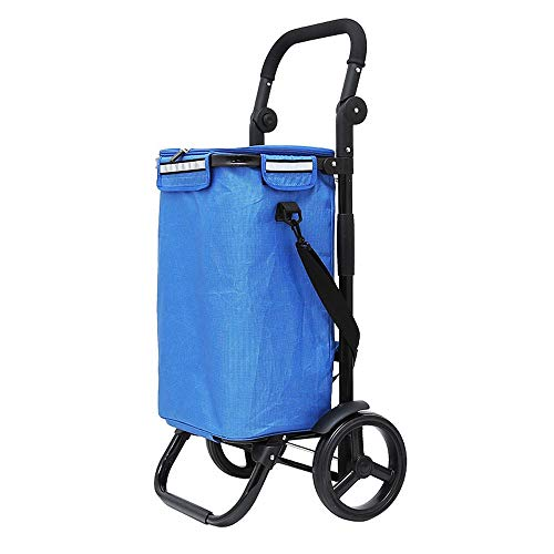 WPCBAA Frame structure shopping cart foldable large-capacity trolley Oxford cloth with ice pack high load-bearing shopping trolley (Color : A)
