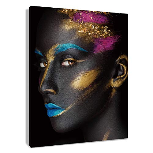 HVEST African American Canvas Wall Art Black Woman Painting Fashion Model with Makeup on