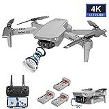 FPV WiFi Drone con cámara dual 4K Video en vivo 110 ° Gran angular 4CH 6-Axis Gyro Plegable RC Drone W / Altitude Hold, Control de APP, Vuelo de trayectoria, Gesture Photos / Video para adultos
