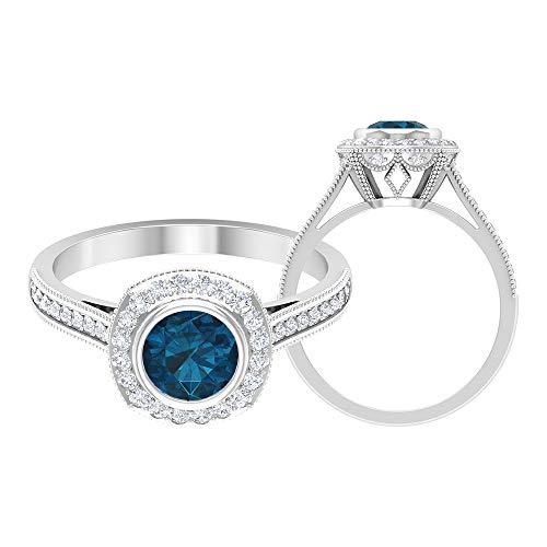 Cathedral Halo Ring, 1,30 ct Runde Edelsteine, HI-SI Diamant 6 mm London Blautopas, Gold Halo Ring mit Seitensteinen, Solitär Verlobungsring, 18K Weißes Gold, Size:EU 47