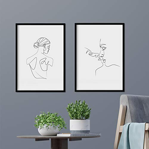 Nacnic Set of 2 Sheets of Drawings with a Single Stroke kiss Female Male and Female Back. Posters with a Single line. A3 Size unframed